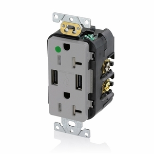 Leviton T5832-HGG Hospital Grade Combination Duplex Receptacle and USB Charger. 20 Amp, 125 Volt, Decora Tamper-Resistant Receptacle, NEMA 5-15R. 3.6 Amps, 5VDC, 2.0 Type A USB Chargers. Grounding, Side Wired & Back Wired - GRAY
