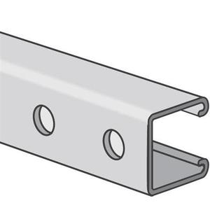 "Kindorf B-907-AL-10 Channel, Bolt Holes, Aluminum, 1-1/2"" x 3/4"" x 10'"