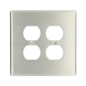 Leviton 84116-40 Duplex Receptacle Wallplate, 2-Gang, 302 Stainless Steel, Oversized