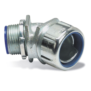 "Thomas & Betts 5345 Liquidtight Connector, 45°, 1-1/4"", Steel"