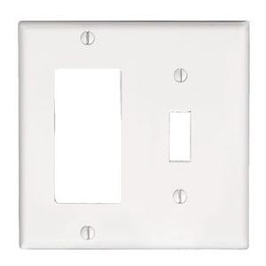 Leviton 80405-W Comb. Wallplate, 2-Gang, Toggle/Decora, Thermoset, White, Standard