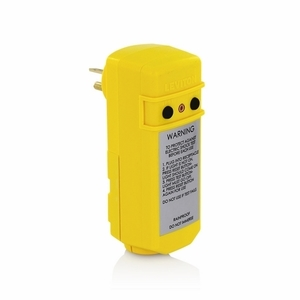 Leviton 16794 20 Amp, 120 Volt, 5-20P, Manual Reset Right Angle GFCI Plug, Grounded, Yellow