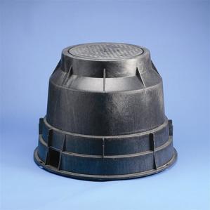 "Erico Cadweld T416C Round Pull Box, Diameter: 14-1/4"", Depth: 18-1/4"", Polyethylene"