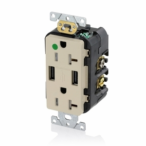 Leviton T5832-HGI Combination Duplex Receptacle and USB Charger, 20A, 125V, Ivory