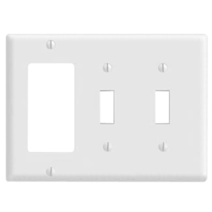 Leviton 80421-W Comb. Wallplate, 3-Gang, (2) Toggle, (1) Decora, Thermoset, White