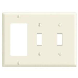 Leviton 80421-I Comb. Wallplate, 3-Gang, (2) Toggle, (1) Decora, Thermoset, Ivory