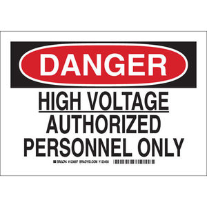 "Brady 123695 Sign, Danger High Voltage, 7"" x 10"", Aluminum"