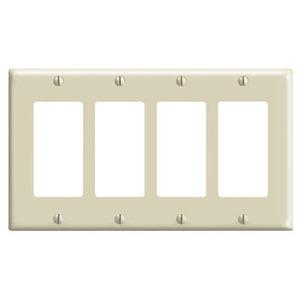 Leviton 80412-I Decora Wallplate, 4-Gang, Thermoset, Ivory