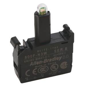 Allen-Bradley 800F-N3W Lamp Module, Integrated LED, White, 24V AC/DC, Front Latch Mount