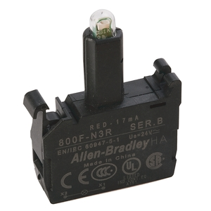 Allen-Bradley 800F-N3R Lamp Module, Integrated LED, Red, 24V AC/DC, Front Latch Mount