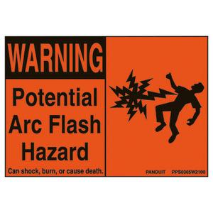 Panduit PPS0305W2100 Adhesive Sign, WARNING POTENTIAL ARC FLASH HAZARD