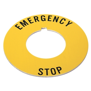 "Allen-Bradley 800T-X646EM Legend Plate, Yellow IEC Ring, Red Text, ""EMERGENCY STOP"""