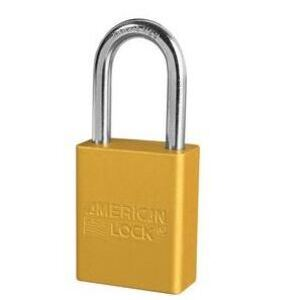 Master Lock A1106KAYLWLZ1 49438, Yellow Aluminum Safety Padlock, Engraved with GE Logo