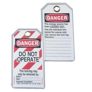 Ideal 44-833 Heavy-Duty Lockout Tags - Red Striped, 5 per Pack