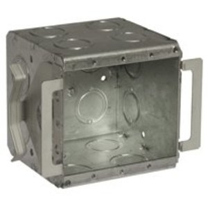 "Hubbell-Raco 696B Masonry Box, Type: Block-Loc™, 2-Gang, Welded, 3-1/2"" Depth, Steel"