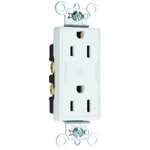 Pass & Seymour 26252-CDW Decora Dual-Controlled Plug Load Duplex Receptacle, 15A, 125V, White