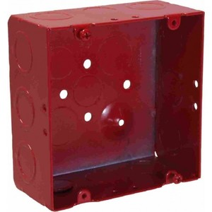 "Orbit Industries FA-5SDB-MKO 4-11/16"" Square Alarm Box, Red, Depth: 2-1/8"", Blank With MKO, Steel"