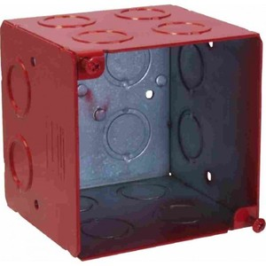 "Orbit Industries FA-4SEDB-CKO 4"" Square Alarm Box, Red, Depth: 3-1/2"" With CKO, Steel"