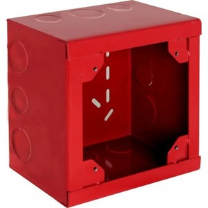 "Orbit Industries FA-5SXB-50/75 5-1/2"" Square Alarm Box, Red, Depth: 3-1/2"", 1/2 & 3/4"" Knockouts"