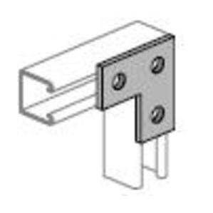 "Power-Strut PS718-EG 3-Hole Flat Angle Plate, 3-1/2"" x 3-1/2"", 9/16"" Bolt, Steel"