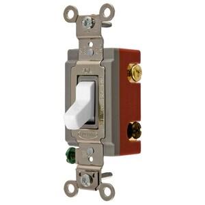 Hubbell-Kellems HBL1224W Toggle Switch, 4-Way, 20A, 120/277VAC, White