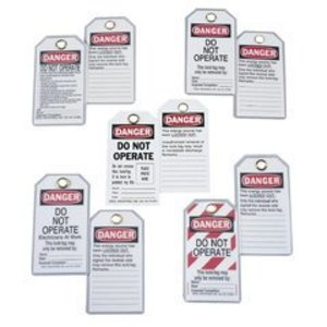 Ideal 44-832 Lock-Out Tag, Heavy Duty/Laminated, Plastic, Card of 5 Each