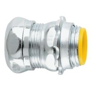 "Cooper Crouse-Hinds 1651 EMT Compression Connector, 3/4"", Insulated, Concrete Tight, Steel"