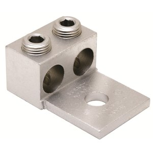 Burndy K2A26U Mechanical Lug, 2-Conductor, 1-Hole Mount, Aluminum, 14 - 2/0 AWG