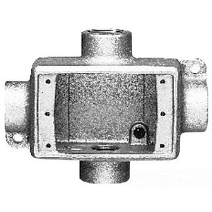 """Cooper Crouse-Hinds FDX2 FD Device Box, 1-Gang, Feed-Thru, Type FDX, 3/4"""", Malleable Iron"""
