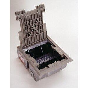 "Wiremold AF3-KT Floor Box, Rectangular, (4) Compartment, Depth: 5"", 1/2 & 3/4"" KOs"