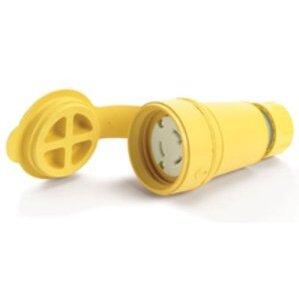 Woodhead 29W48 Watertight Locking Connector, 30A, 250V, L6-30R, Yellow