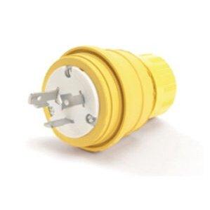 Woodhead 28W47 Watertight Locking Plug, 30A, 125V, L5-30P, Rubber, Yellow