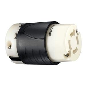 Pass & Seymour L1520-C Locking Connector, 20A, 250V, L15-20R, 3P4W, Black/White