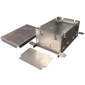 """Wiremold 880S2 Rectangular Floor Box, 2-Gang, Depth: 3-15/32"""", Steel"""