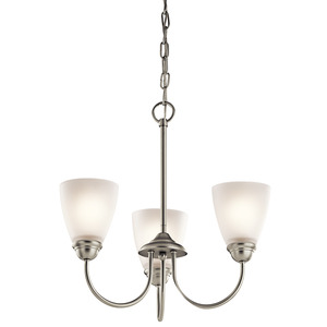 Kichler 43637NI 3 Light Mini Chandelier, Brushed Nickel