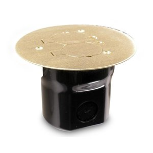 "Wiremold 862C Floor Box Assembly, Round, Type: (1) 15A/125V Duplex Receptacle, Depth: 3-1/2"", Material: PVC"