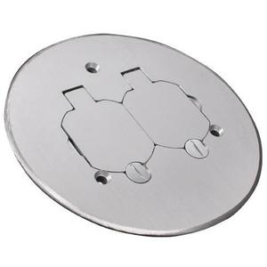 """Wiremold 895TCAL Round Duplex Receptacle Cover, 5-1/2"""" Diameter, Aluminum"""