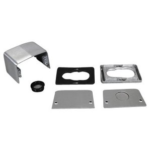 "Wiremold 525A Service Fitting, 4-Piece, 1"" Grommet, Die Cast Aluminum"