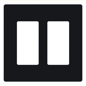 Lutron CW-2-BL Dimmer/Fan Control Wallplate, 2-Gang, Black, Claro Series