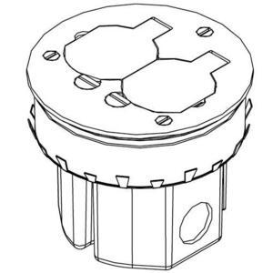 "Wiremold 861DB Floor Box Assembly, Duplex Receptacle, 4"" Diameter, Metallic"