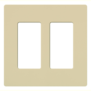 Lutron CW-2-IV Dimmer/Fan Control Wallplate, 2-Gang, Ivory, Claro Series