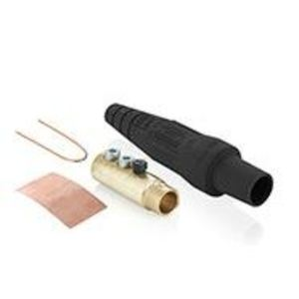 Leviton 16D33-UE Cam Connector, Female Plug, Double Set Screw, 2/0 - 4/0 AWG, Black