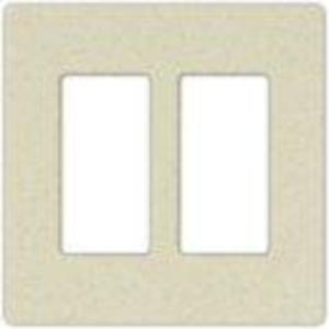 Lutron SC-2-BI Dimmer/Fan Control Wallplate, 2-Gang, Satin Series, Biscuit Finish