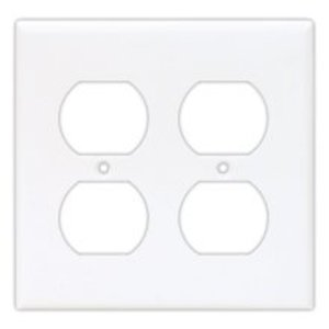 Eaton Arrow Hart 2132V-BOX Duplex Receptacle Wallplate, 1-Gang, Thermoset, Ivory