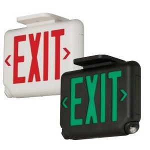 Hubbell-Dual-Lite EVCURWD4I-WM Exit/Emergency Light, Red Letters, White Finish