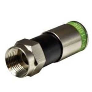 Vericom Global Solutions PV1666 F-Connector, RG6, Indoor/Outdoor, Green Color Code, Compression