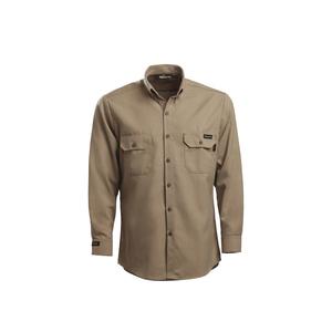 Workrite Uniform 288UT70KH/GE/L/M/VELSLVGAP Utility Shirt, Long Sleeves, 7oz, Ultrasoft, Khaki, M, Long