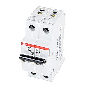 ABB S202-C1 Circuit Breaker, Miniature, DIN Rail Mount, 1A, 2P, 480Y/277VAC