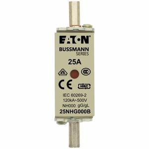 Eaton/Bussmann Series 25NHG000B NH DIN Dual Indication Fuse Link, Size 000, 25 Amp, 500V