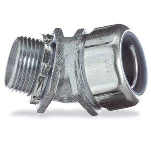 "Thomas & Betts 5242 Liquidtight Connector, 45°, 1/2"", Non-Insulated, Malleable Iron"